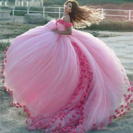 Wholesale Amazing Pink Ball Gown Country Wedding Dresses D Floral Appliques Off Shoulder Arabic Bridal Gowns Puffy Plus Size Dresses For Wedding