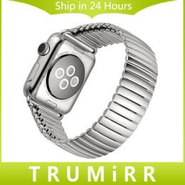 22mm 24mm acero inoxidable Banda de reloj para iWatch Apple Seguir 38mm 42mm Banda elástica correa de pulsera con Link Adaptador de plata desde bandas de acero inoxidable enlaces proveedores