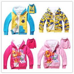 Wholesale Coral Boys Hoodies - 2016 New Kids Cartoon print Fleece Warm Jacket Boys Girls coral velvet Zipper Hoodie Children winter outfits 4styles for 4-12T