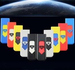 Wholesale Car USB Port Electronic Rechargeable Wind Proof Arc Cigarette Lighter Flameless Cigar Lighters Superman Smoking lighters No Gas smokeless
