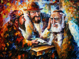 Wholesale Beautiful Leonid Afremov s Palette knife oil painting custom size studying bible hand painted on linen