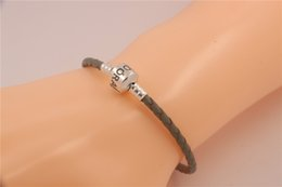 Wholesale Silver Gray Charm Bracelets Fits For Pandora Style Sterling Silver Clip Clasp s925 ALE Beads Genuine Leather Bracelet DIY Jewelry