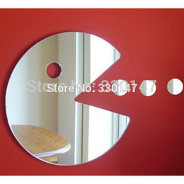 Wholesale Boy Kid s Gift Acrylic Mirror Catoptric Sticker Pac Man Game Sign Cartoon D DIY Wall Stickers Home Room Door Decoration
