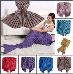 Wholesale Adult Mermaid Tail Blankets Marine Mermaid Blankets Hand Crocheted Sofa Blanket Mermaid Costume Mermaid Bedding Super Soft Sleeping Bag B3