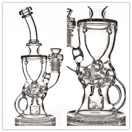 Wholesale FTK new glass bong Fab Torus Klien recycler water pipes oil rig Hookahs mm female joint good function High quality