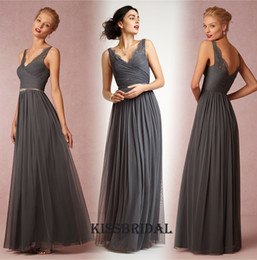 Wholesale 2016 Dark Grey Long Bridesmaid Dresses Cheap V Neck Ruched Beaded Belt A line Floor length Tulle Maid Of Honor Dress Formal Evening Gowns
