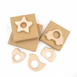 NEW Set of 5 New Design Wooden Teethers Organic Wooden Bird Car Star Heart Camera Teethers Beech Wood Pendant EA0802-4
