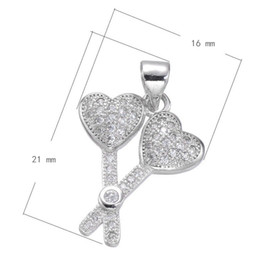 DIY Keychain Jewelry Accessories Heart Shaped Cross Stick Charm CZ Micro Inlay Copper Pendant Platinum Plated 21x16mm Hole:3.5mm 10PCS Lot