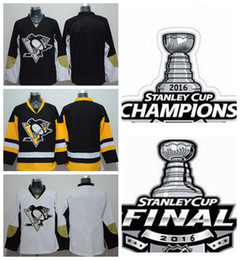 Blank Penguins Jersey Pittsburgh 2016 Stanley Cup Champions Final Patch Blank Ice Hockey Jerseys Cheap Black White Yellow