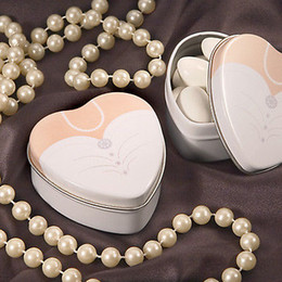 2pcs=1set 200pcs Dressed To The Nines Heart Shaped Bride Or Groom Mint Tins Tin Candy Box Boxes Wedding Gift Favors Free Shipping