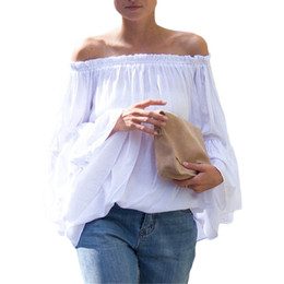 Cute Ruffle Blouses Summer Style 2016 New Arrival Women's Shirts Casual White Boat Neck Loose Blouse