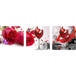 Wholesale Diy Diamond Painting panel home decor Red rose and wine glass square picture gift craft wallpaper X40CMx3pcs HWJ