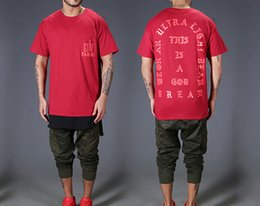 Summer Fashion Short Sleeve O-neck Cotton T Shirts For Lovers   Hip Hop KANYE WEST Loose Letters Print Men Tees   Red Blue S-3XL Wholesale