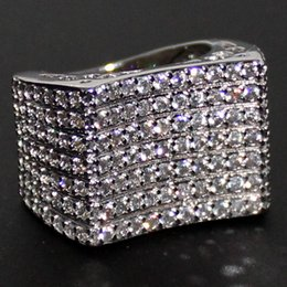 Eternal Lady's 14K White Gold Filled Simulated Diamond CZ Paved Wedding Big Band Ring Brand Jewelry for Women