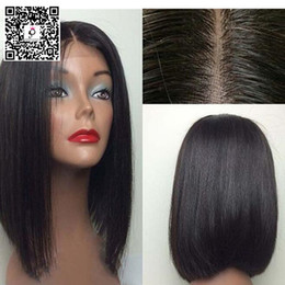 Wholesale 2016 Premierlacewigs Yaki Straight Bob Human Hair Lace Wigs inches a Brazilian virgin Remy Hair Lace or Full Lace Wigs