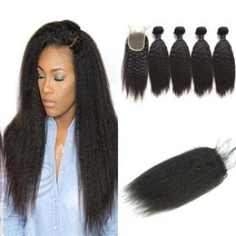Indian Virgin Hair With Closure 4PCS Indian kinky Straight Hair Bundles With 1PC Lace Closure 4x4 Part 100% Human Hair Weave G-EASY