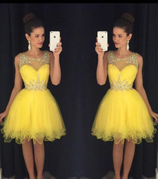 Bright Yellow Short Homecoming Dresses 2016 Sheer Beaded Neck Ruffles Mini Junior Teens 8th Grade Graduation Party Dresses Cocktail Dresses