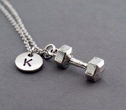 Wholesale antique silver plated Dumbbell necklace weightlifting initial necklace initial hand stamped personalized monogram