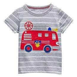 Summer Baby boy T-shirt kids Short sleeved T-shirt kids cartoon car stripe gray T-shirt 6pieces lot
