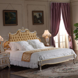 French classic furniture bedroom-baroque style queen bed - high end classic solid wood bed