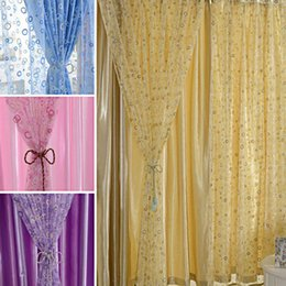 Wholesale 200 x cm Circle Pattern Tulle Sheer Curtain Voile Panel Drape Curtain Cover Window Screening Door Balcony Home Decoration