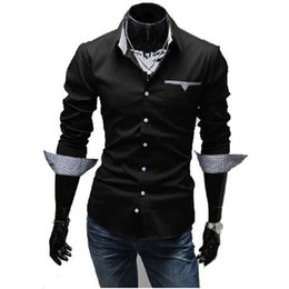 New Harajuku pop sleeve shirt men casual shirts turn-down collar solid colors mens brand casual-shirt tops