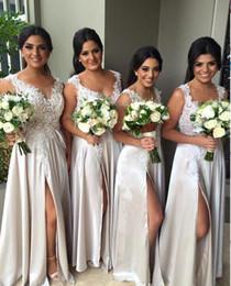 New Arrival Front Split Long Bridesmaid Dress Jewel Neck Long Elegant Bridesmaids Dresses Lace Appliques Cheap Bridesmaid Dress 2016