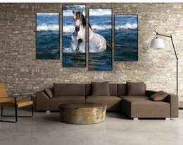 4 Panel Hot Sell Unframed Running Horses Oil Painting Art Picture Canvas Animal Pictures Home Decoration For Living Room
