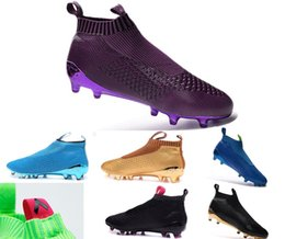 Wholesale Ace16 purecontrol football boots high ankle mens waterproof football shoes blackout soccer cleats fashion ACE boy soccer training shoes