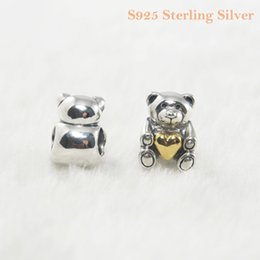 Fits Pandora Bracelet&Charms MOTHER'S DAY TEDDY BEAR CHARM DIY Beads Solid 925 Silver Not Plated