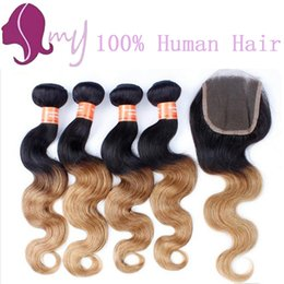 NEW!!! Brazilian Virgin Hair Ombre With Closure Blonde Ombre Brazilian Hair With Closure Honey Blonde Bundles With Closure