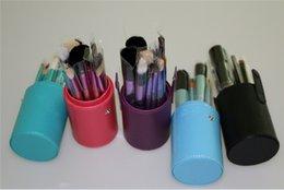 Wholesale Cylinder Pc - 12 PCS Makeup Brush Set+Cup Holder Professional 12 pcs Makeup Brushes Set Cosmetic Brushes With Cylinder Cup Holder 20sets DHL free