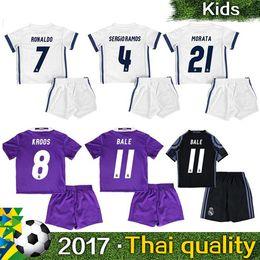 Wholesale 2016 Real Madrid children s clothing soccer wear Real Madrid shirts RONALDO BALE BENZEMA MARCELO Camisetas