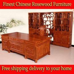 Wholesale African rosewood PterocarpuserinaceusPoir office desk chair bookcase set antique shelf solid Furniture