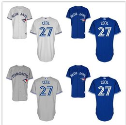 Wholesale 2016 Toronto Blue Jays Jersey Brett Cecil Jersey White Grey Blue Cool Stitched Baseball Jersey Embroidery Logo size s xxxl mix order