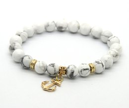 Wholesale ps mm White Howlite Stone Beads with Anchor Charm Lucky Bracelets For Party Gift