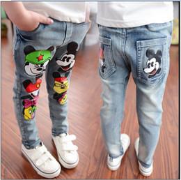Wholesale 2016 Children Cartoon Mickey Mouse Jeans Boys Girls Fashion Denim Pants Kids Cowboy Trousers Korean Style Child Spring Autumn Casual Pant