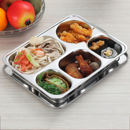 Wholesale Thickened deepen four frame five grid points grid with lid stainless steel snack plate lunch boxes cafeteria tray