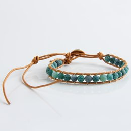 Wholesale New Boho Style Mixed Leather Natural Green Agate Bead Bracelet for Women and Men Handmade Friendship Bracelets Gift Jewelry