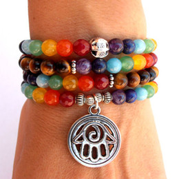 SN0105 New Design Chakra 108 Mala Wrap Bracelet or Necklace Mala Bracelet Hamsa Bracelet Yoga Bracelet Meditation Bracelet
