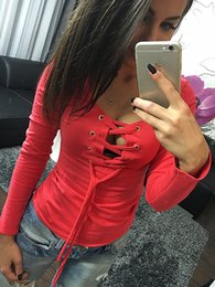 Wholesale Low Cut Top Sleeves - Spring Women T-shirts 2016 Solid Lace Up Sexy Top V-neck Long Sleeve Tshirt Women Low Cut Clothes