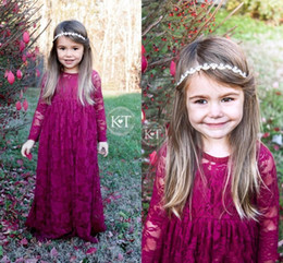 2017 Lovley Vintage Wine Red Long Flower Girls' Dresses Girl's Pageant Dresses Lace Long Sleeves Boho Formal Dresses For Little Girls