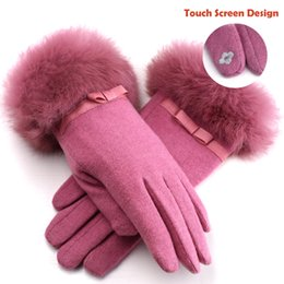 Wholesale Winter Gloves With Rabbit Fur Wrist Wool Finger Gloves Wool Womens Knit Gloves Touch Screen Designer and Double Velvet Winter Warm Gloves