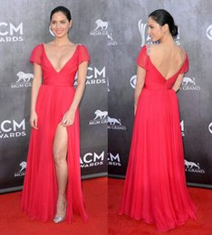 Wholesale Pink Reem Acra High Split Celebrity Dresses Olivia Munn Beaded Short Illusion Sleeve Low Cut Empire Chiffon Backless the ACM Awards