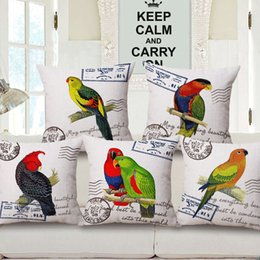Red Lipstick Custom Cushion Covers Retro Style Eclectus Parrot Birds Throw Pillows Covers Pillows Cases Bedroom Sofa Decoration