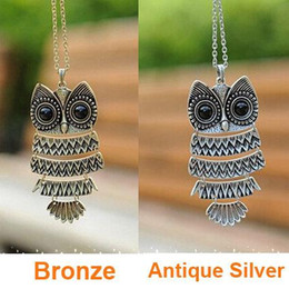 Wholesale Korea Adorn Article Vintage Owl Pendants Necklace Ancient the Owl Sweater Chain Jewelry N1177 N1176