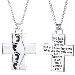 Wholesale 2016 Hot Love Child Footprint Cross Parents With Child Forever Chain Necklace Fashion Pendant Necklaces inches