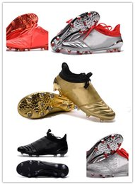 Wholesale 2016 Soccer Shoes X Purechaos FG Firm Ground Cleats Cheap Sale Football Boots High Tops Soccer Cleats FG AG Sliver Gold Red Black
