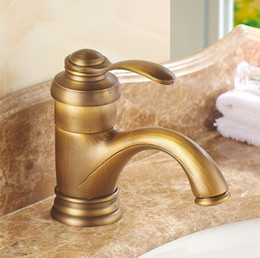 Wholesale New Arrivel Deck Mounted Art Antique Brass Bathroom Basin Faucet Fashion wash basin Single Handle Sink Tap