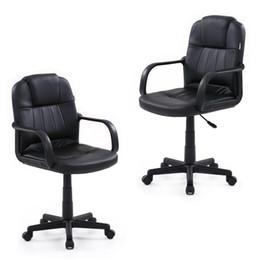 Wholesale IKAYAA Luxury Adjustable PU Leather Office Executive Chair Stool Ergonomic Computer Task Office Furniture US STOCK H16712